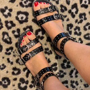 Black Stud Sandals by Botique-Fashion