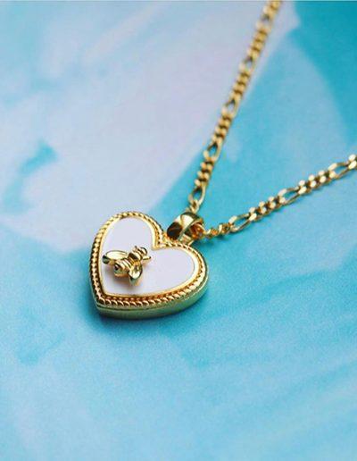 Mi moneda goud kleurige ketting met bij By Botique-Fashion