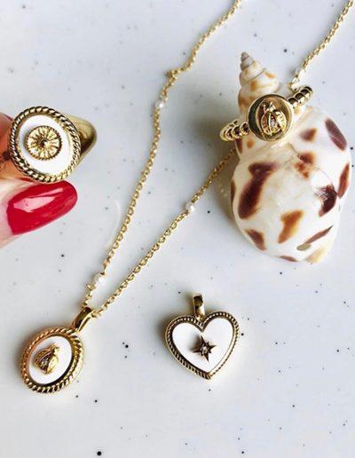 Mi moneda zegel ring ketting By Botique-Fashion