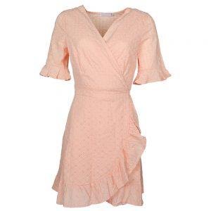 Broderie Ruffle Dress Peach By Botique-Fashion