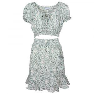 Flower Crop Top Set White & Green By Botique-Fashion