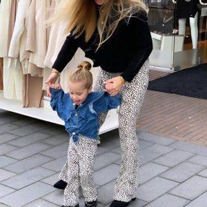 Ambika Kids Clara Blue Denim Ruffle Blouse Model Stand By Botique-Fashion