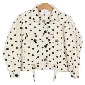 Ambika Kids Denim Dots Jacket Off White By Botique-Fashion