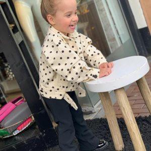 Ambika Kids Denim Dots Jacket Off White Model By Botique-Fashion