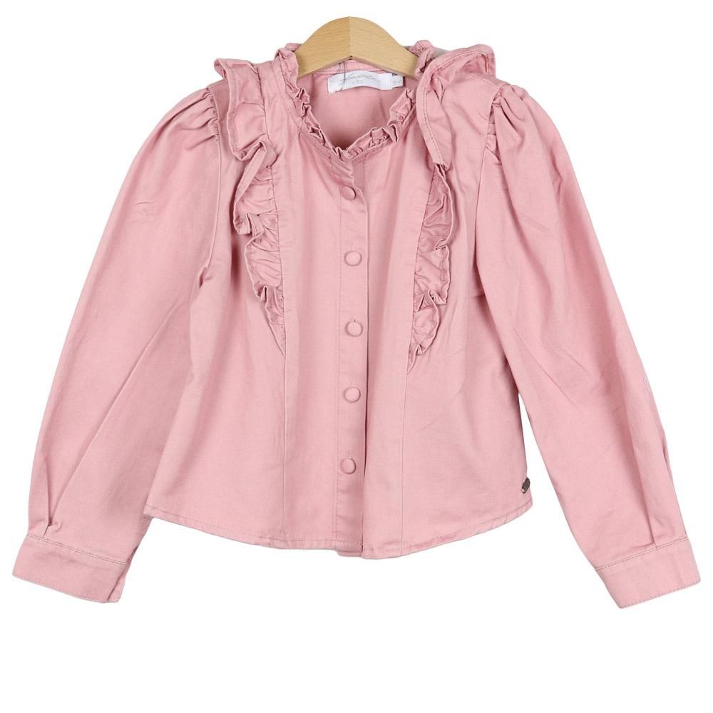 Ambika Kids Lovely Pink Denim Ruffle Blous By Botique-Fashion