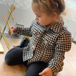 ambika kids pied de poule blouse jacket front model by botique fashion