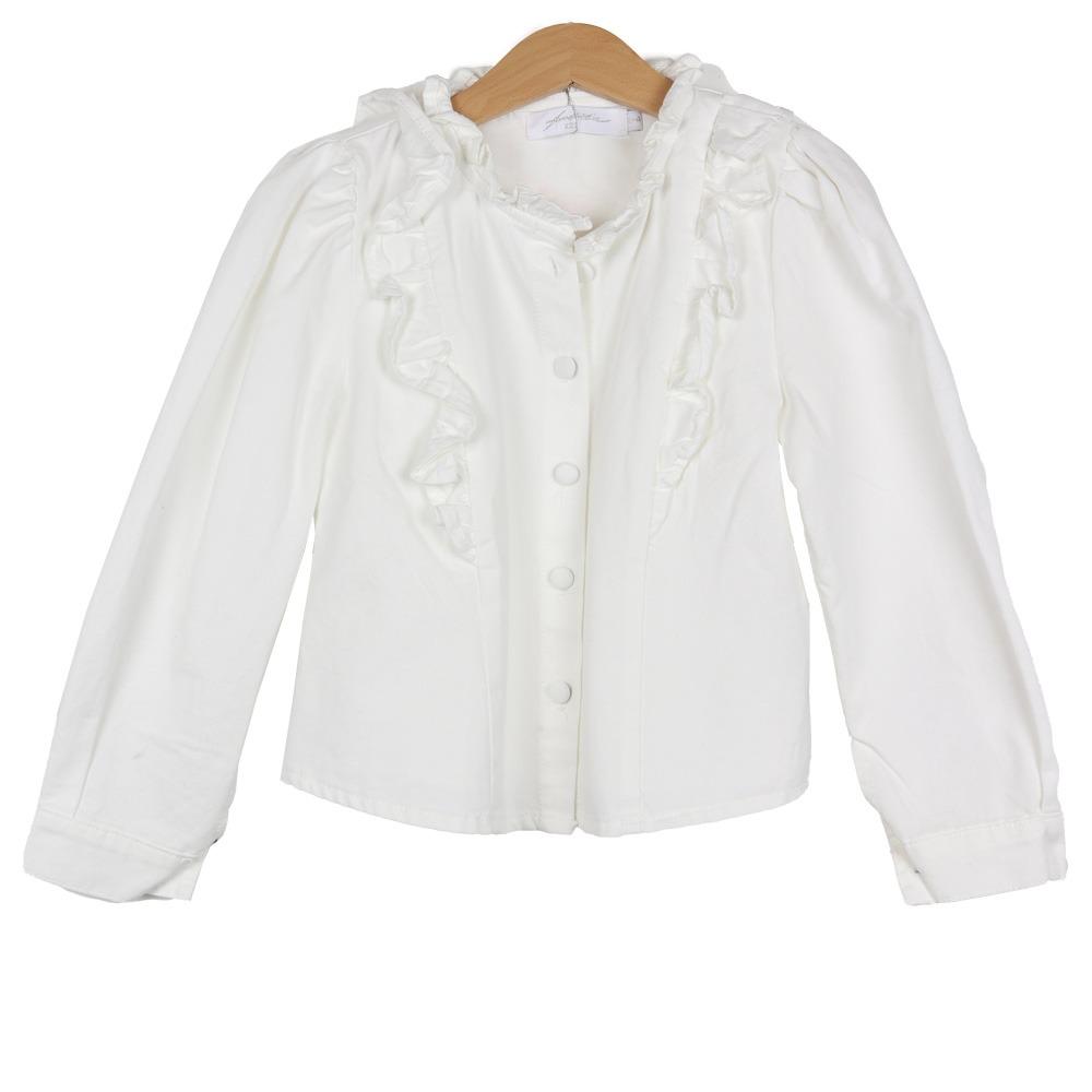 Ambika Kids White Denim Blouse By Botique-Fashion