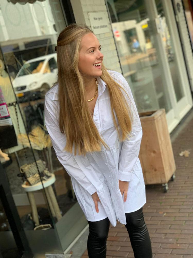 Drole De Copine Boho Blouse Dress White Model Front By Botique-Fashion
