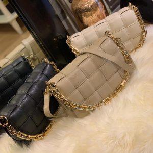 Bodina Bag Classic Grain Black Ecru Taupe By Botique-Fashion