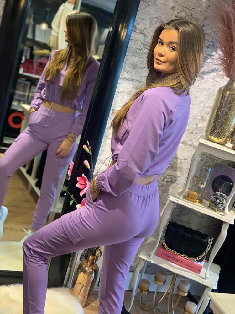 Giorgia 2-Piece Sporty Suit Lila Back Model By Botique-Fashion