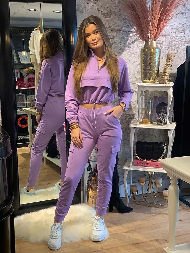 Giorgia 2-Piece Sporty Suit Lila Front Model By Botique-Fashion