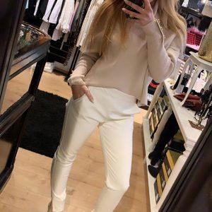 Leatherlook Pants White Model By Botique-Fashion