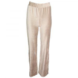 Eight Paris Suede Super Soft Rib Flared Pants Split Beige By Botique Fashion