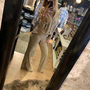 eight paris suede super soft rib flared pants split beige model front by botique fashion