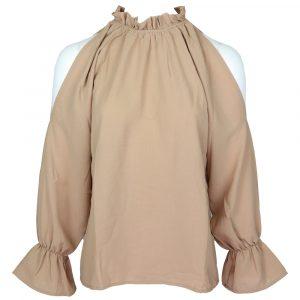 kooiook open shoulder rouche blouse beige by botique fashion