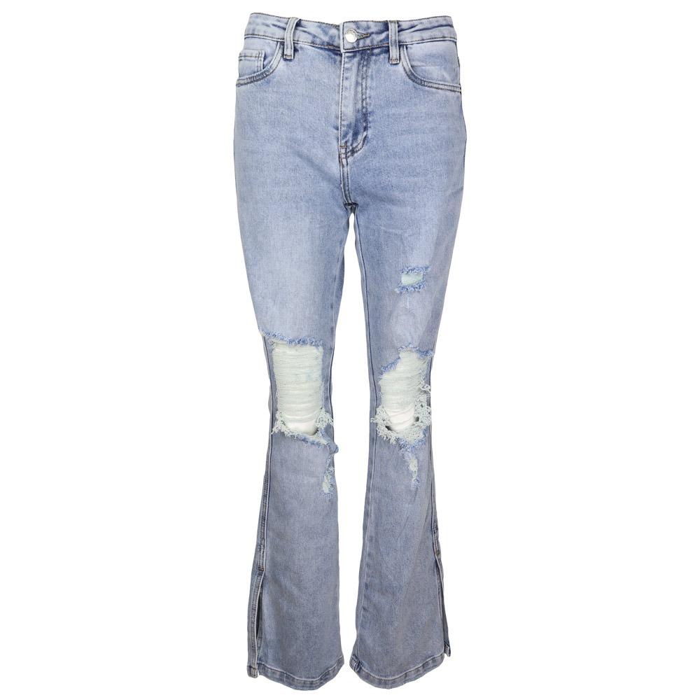 queen hearts split hem flare jeans light blue by botique fashion