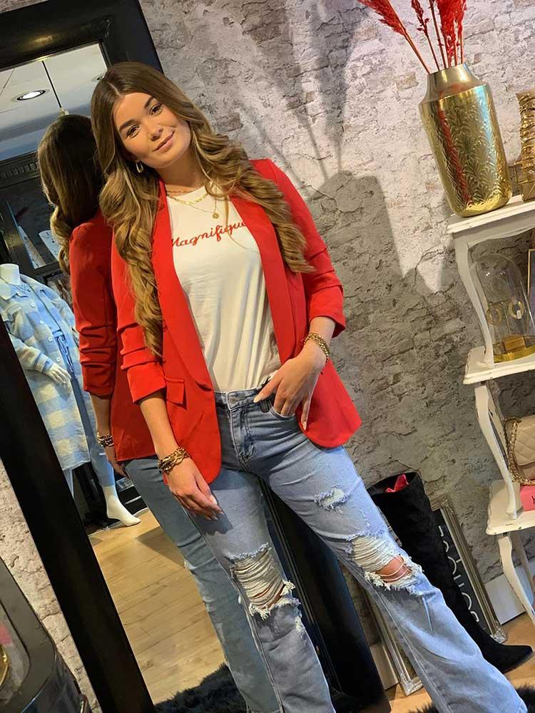 queen hearts split hem flare jeans light blue model by botique fashion