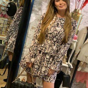jessy & co flower dress nude black model front by botique fashion