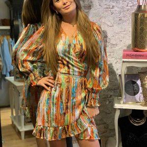 jubylee lurex wrap dress orange model front by botique fashion