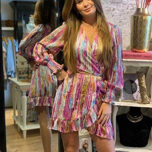 jubylee lurex wrap dress purple model front by botique fashion