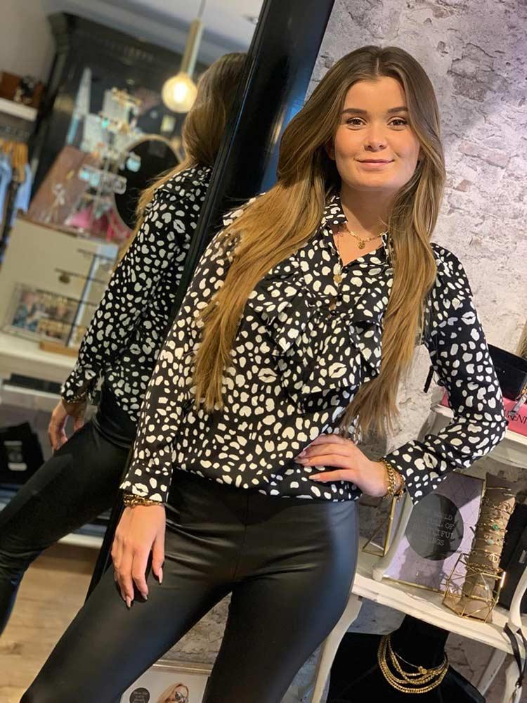 may ruffle big cheetah blouse black model front by botique fashion