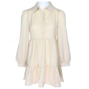 papillone boho silk blouse dress beige by botique fashion
