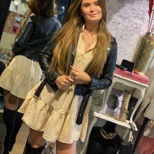 papillone boho silk blouse dress beige model front by botique fashion