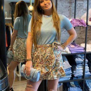 april ruffle skirt beige model front by botique