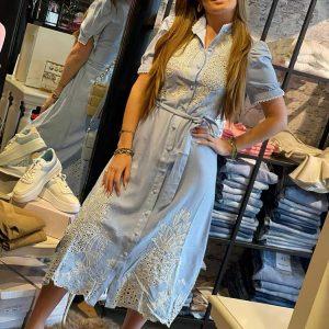 drole de copine broderie maxi dress sweet blue model front by botique