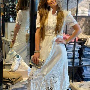 drole de copine broderie maxi dress white model front by botique
