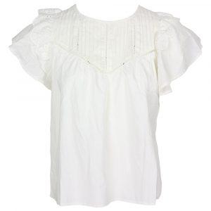 drole de copine plisse broderie blouse white by botique