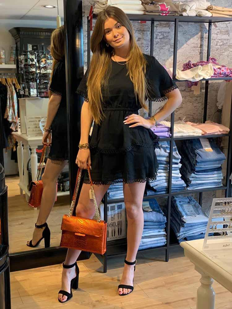 eight paris black details dress model front by botique