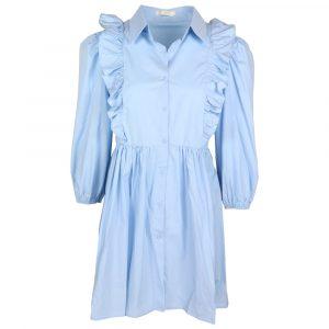 luzabelle ruffle blouse dress baby blue by botique