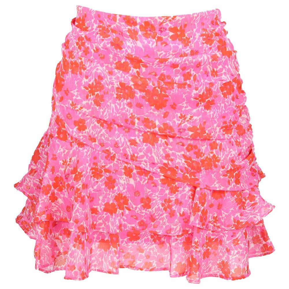 dai pink red flower lurex skirt by botique