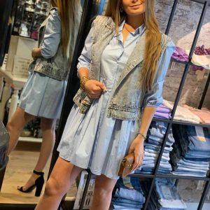luzabelle ruffle blouse dress baby blue model front by botique