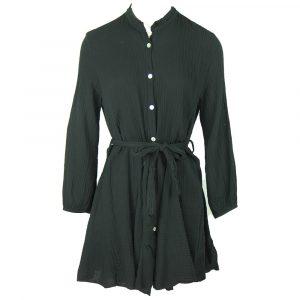cotton belted dress black