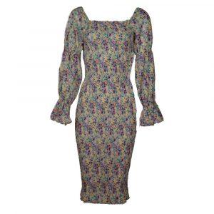 f&p smocked midi dress violet
