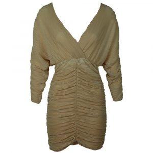 luc ce silk cropped rib dress beige