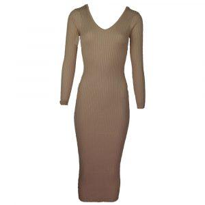 moocci beige tight long rib dress