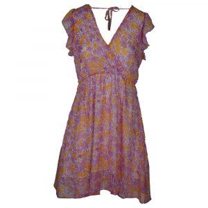 vintage dressing flower dress lila orange