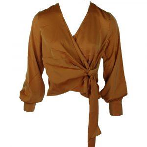 capsule 1 satin knot blouse caramel