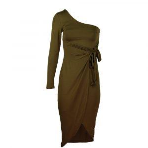 drole de copine one shoulder dress camel