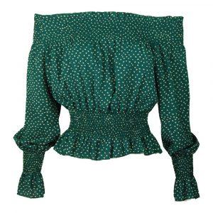 jolio & co crop blouse top green white dots