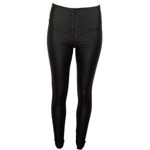 back buttons leatherlook legging black
