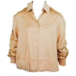 retro & icone satin cropped sleeve blouse beige