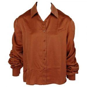 retro & icone satin cropped sleeve blouse caramel
