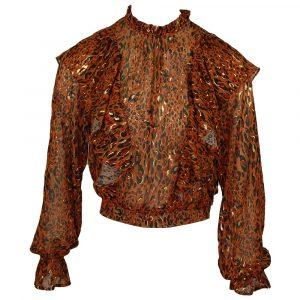 vera & lucy golden detail leo ruffle blouse