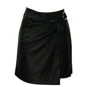 drole de copine leatherlook skirt with belt black
