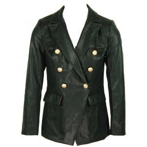 drole de copine black leatherlook button blazer
