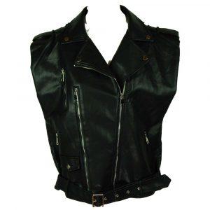 leatherlook gilet shoulder black